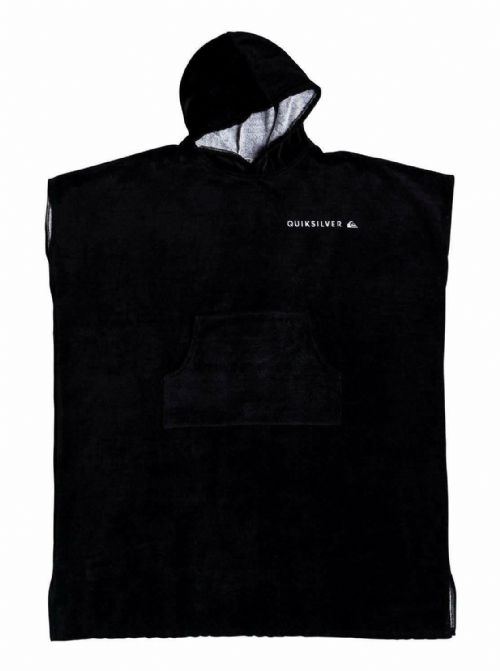 QUIKSILVER MENS PONCHO TOWEL.NEW SURFER HOODED BLACK VELOUR CHANGING ROBE 9W 42